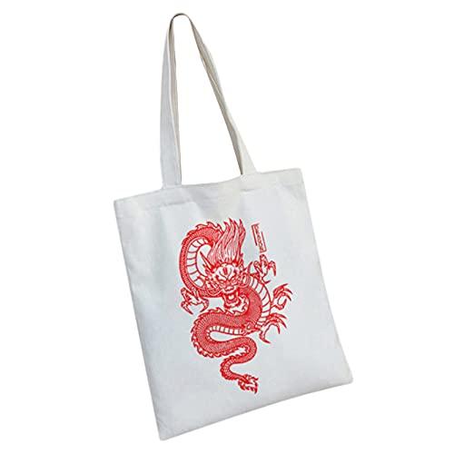 MAJFK - Borsa da donna in tela con stampa di drago, stile gotico, stile Harajuku, stile punk gotico, grande capacità, classica borsa a tracolla, colore: Bianco/Rosso