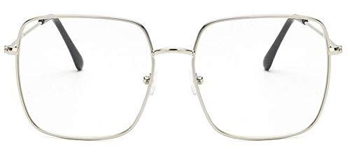 Gafas De Solnuevas Gafas De Sol Vintage De Montura Cuadrada paraMujer,Gafas De Sol DeGran Tamaño para Hombres Y Mujeres, Gafas Negras Uv400, Silv