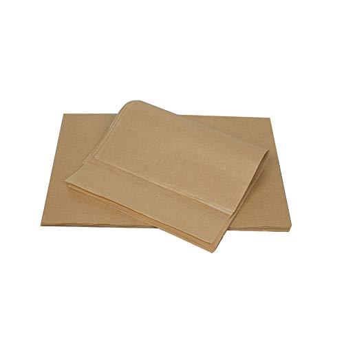 SUQ 100 Pezzi Antiaderente Cottura Mat, 25 * 35 cm Carta da Forno Pergamena Fogli per La Cottura, Antiaderente, Non Candeggiato, Cucina Sicura per Marrone