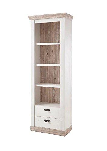 Regal Kiruna, Standregal, Pinie weiß, 71 x 201 x 37 cm, Wohnzimmer, Wohnzimmerregal, Standregal, Wohnzimmermöbel, Möbel, Wohnzimmerausstattung