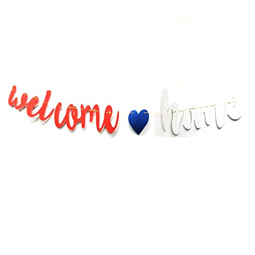 Welcome Back Sweet Home Banner Patriotic Banner Bunting - Military Homecoming Banner Army Family Members Friends Welcome Back Sweet Home Decorations Party Supplies