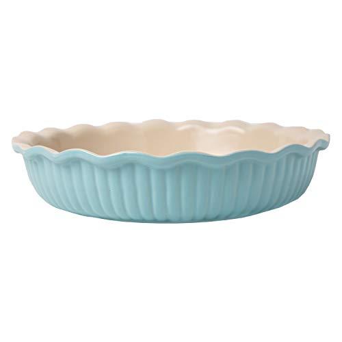 Comfify Molde de cerámica para Tartas - Molde Redondo de 10 Pulgadas para los entusiastas de la Cocina y la repostería - Apto para Horno, congelador y microondas - Molde de gres para Tartas - Azul