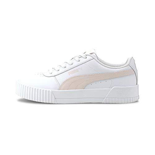 PUMA Damen Carina L Sneaker, White White Silver, 38.5 EU