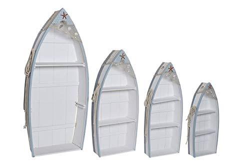 DRW Set de 4 Estanterías con Forma de Barca de Madera en Azul 58x19x130cm