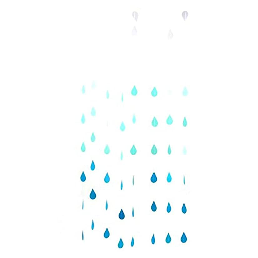 WEFOO Gradual Blue Colors Paper Raindrop Garland For Nursery decor April showers Spring Shower Raindrop Baby Shower