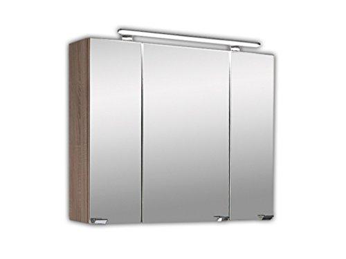 Posseik Multi-use Spiegelschrank, Sonoma/Eiche, 80 x 20 x 68 cm
