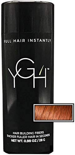 YGH Hair Building Fibers - Conceals Hair Loss in 15 Seconds - 100% Undetectable - 0.98 oz / 28g Bottle - Instantly Thicken Thinning Hair (Auburn)