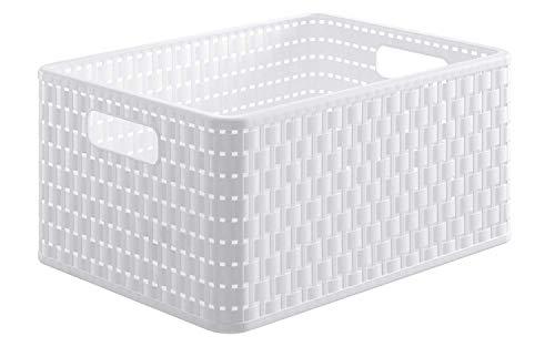 Rotho Country Boîte de Rangement 18L en Rotin, Plastique (PP) sans BPA, Blanc, A4/18L (36,8 x 27,8 x 19,1 cm)