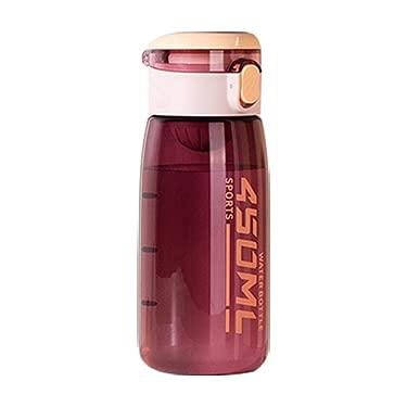 Borraccia da 450 ml con bilancia e maniglia per il trasporto morbida per adolescenti, senza BPA e a prova di perdite con apertura a scatto (rosso)