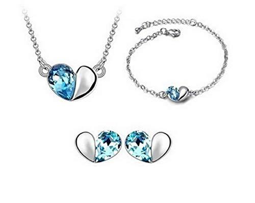 Blauw - set - driedelige partij - ketting - oorbellen - armband - hart - vrouw - cadeau-idee