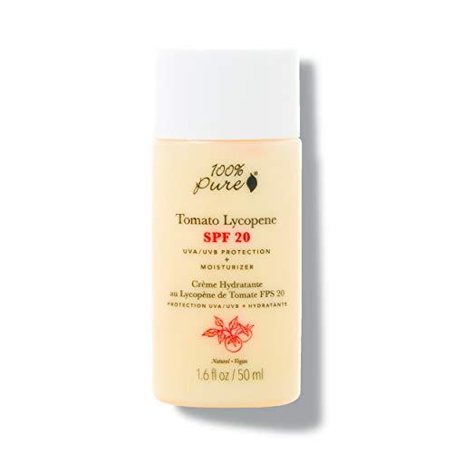 100% PURE Tomato Lycopene SPF 20 Moisturizer, Zinc Oxide Sunscreen, Moisturizer for Face with SPF, Daily Sunscreen, Natural Sunblock (1.6 Fl Oz)
