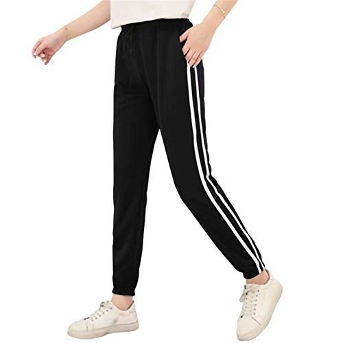 TTSDRD Mujer Pantalones de chándal con Rayas Laterales Joggers Pantalones Deportivos Casuales Pantalones de chándal Pantalones con Bolsillos (Color : Black, Size : L)