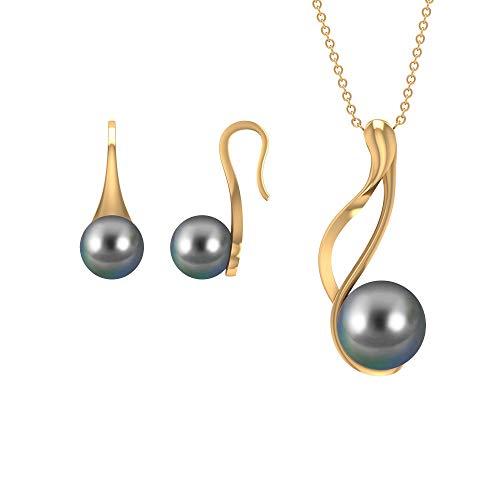 Rosec Jewels 14 quilates oro amarillo redonda Black