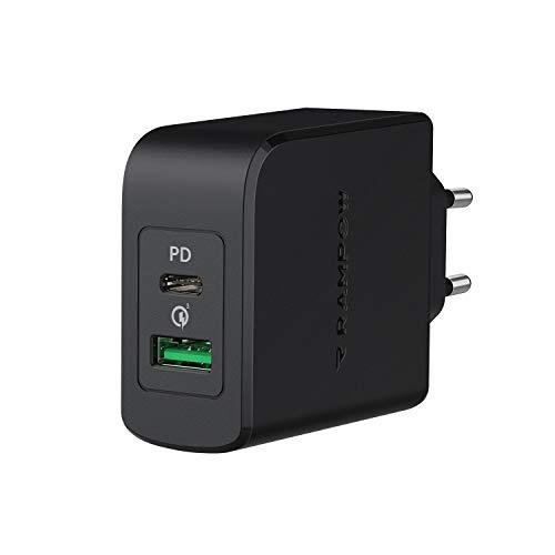 RAMPOW Cargador USB C Carga Rapida 36W Power Delivery 3.0 y Quick Charge 3.0, 18W Cargador Tipo C para iPhone 12 11 XS X SE 2020, iPad Pro 2020, MacBook Air 13, Samsung S20,Huawei Mate 30,Xiaomi y más