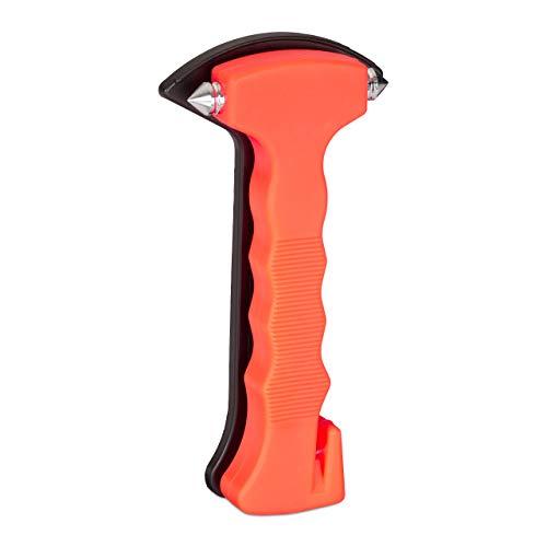Relaxdays 10024324 Auto Notfallhammer mit Gurtschneider, Fenster Nothammer mit Stahl Spitzen, PKW Gurtmesser, Autohammer, orange