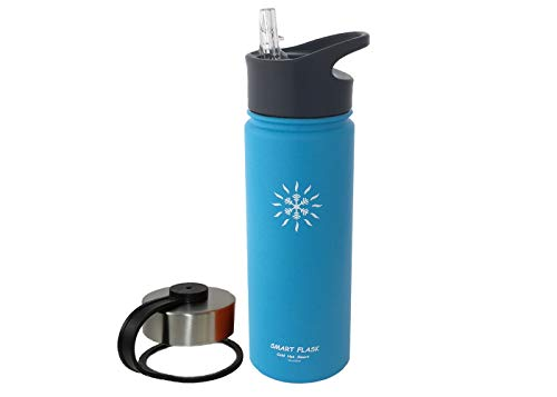 Smart Flask 18oz Stainless Steel, Wide Mouth, Insulated Water Bottle with Solid, Hard, One Piece Biteproof Straw Lid and Leakproof Travel lid, Perfect Size Bottle and Lid for Kids