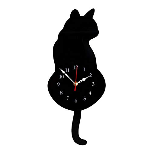 Mingbai Wall Clock Creative Cat Acrylic Wall Clock with Real Simulation Swinging Tail, for Living Room Bedroom Kids Room Kitchen and Home Décor, Creative Wall Clock (Black)