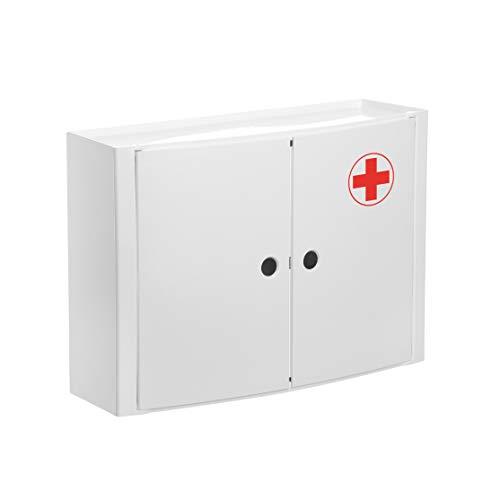 Tatay Armario plástico Horizontal, Color Blanco, 2 Puertas sin pomos, y Estante Interior removible. Grafismo de Cruz Roja en una de Sus Puertas