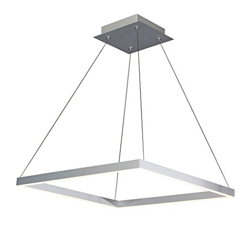 "VONN VMC31620AL Modern Square LED Chandelier Lighting with Adjustable Hanging Light, 19.69"" x 19.69"" x 7.87"", Silver"