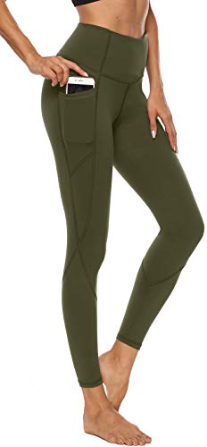 Persit Damen Yoga Leggings, Sport Tights Leggins Yogahose Sporthose für Damen Olivengrün-S