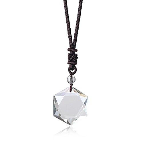 COAI Colgante Hexágono Estrella de David en Cristal de Cuarzo