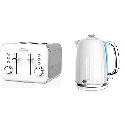 Breville VTT687 High Gloss Toaster, 4 Slice, with Variable Browning and High Lift, White & Impressions Electric Kettle, 1.7 Litre, 3 KW Fast Boil, White [VKJ378]