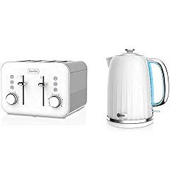 Product 1: Stunning white high gloss 4 slice toaster with perforated metal design Product 1: Lift and look feature allows you to check your toast mid cycle Product 1: Blue illuminated control buttons for easy function identification Product 1: Variab...