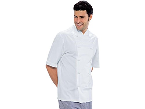 Giacca da Cuoco Bianca a Mezza Manica / 100% Cotone/Marca Italiana/Ideale per cuochi e pizzaioli, Tessuto Leggero e Fresco, Bottoni Estraibili antipanico (M)
