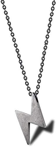 huangshuhua Collar Elegante Letra Z Collares Pendientes para Hombres Color Plateado Vintage y Tono Negro Collar de Acero Inoxidable para Hombres Regalos-Black_50Cm Gift