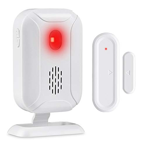 Wsdcam Wireless Door Open Chime (36 Chime Tunes   4 Volume Levels   LED Flashing Light) - 1 Magnetic Door Alarm Sensor, 1 Receiver Battery Operated