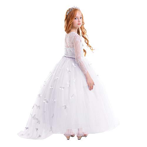 Vestito Elegante da Ragazza Festa Matrimonio Damigella Donna Sposa Cerimonia Prima Comunione Battesimo Carnevale Ballerina Abiti #11 Bianco 10-11 Anni