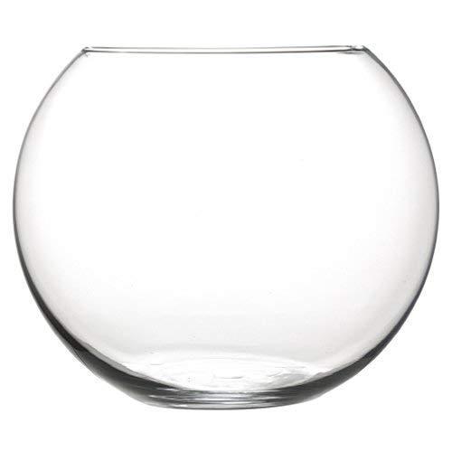 INERRA Kleiner Glas Fischglas Rund Vase - für Blumen, Blumenmuster Blumensträuße & Tafelaufsätze 7.5cm X 10cm - Durchsichtig, Twin