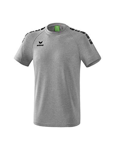 ERIMA Erwachsenen Essential 5-C T-Shirt mit Raglanärmel und stylischem 5-C Print, grau melange/Schwarz, XXXL