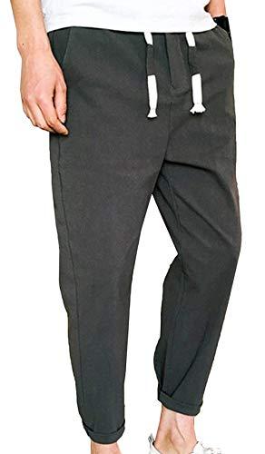 Pantalones Largos De Carga De Verano De Hombres Pantalones De Ocio Los De Basicas Algodón Puro Pantalones De Lino De Estilo Japonés con Cordón Pantalones De Fitness Color Sólido Pantalones De Verano