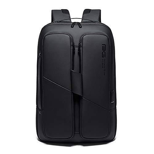 BANGE Zaino impermeabile per computer portatile da viaggio unisex con ricarica USB (nero)
