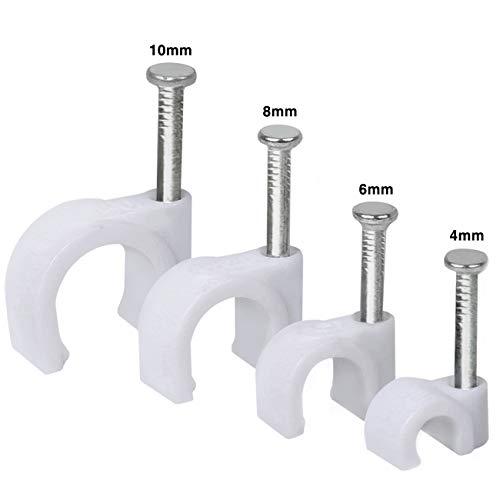 500 stück Kabelschelle Nagelschelle Haftclips mit eingestecktem Nagel | Größen: 4mm, 6mm, 8mm, 10mm