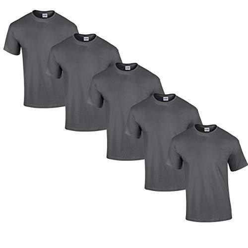 Gildan 5 Stück Heavy Cotton T-Shirt Herren Shirt S - 3XL Schwarz Weiß (L, DarkHeather)