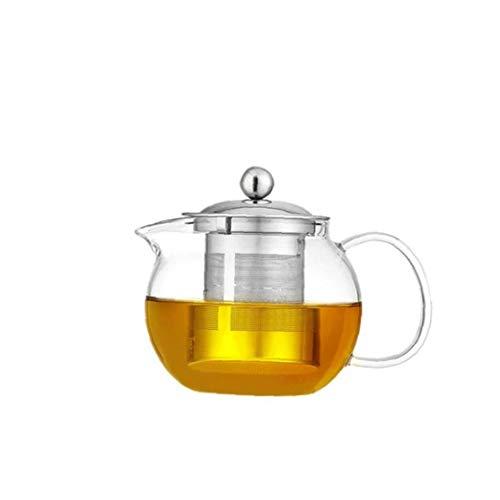 xuew Resistente al Calor Tetera de Cristal Transparente de Acero Inoxidable colador de te Olla de Cocina Suministros 960ml