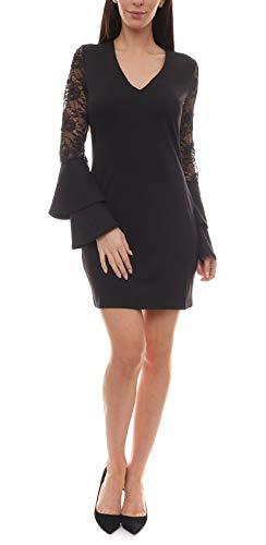 Melrose Spitzen-Kleid kurzes Damen Jersey Abend-Kleid mit Volant Spitzen-Ärmeln Ausgeh-Kleid Party-Kleid Schwarz, Größe:32