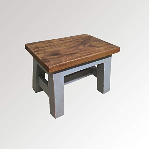 Baqu Hocker Sitzhocker Tritthocker Fußbank Schemel Trittbank Fußschemel Podest Küche Bad Shabbychic grau Vintage