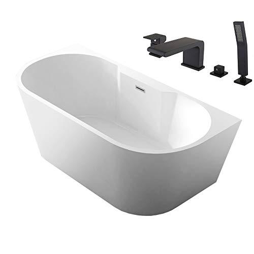 Vasca da bagno NOVA CORNER PLUS - Con sistema di drenaggio, pre-assemblaggio, Con miscelatore 6080 nero