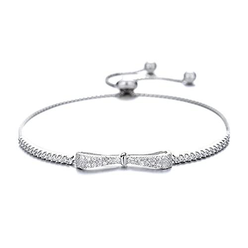 Elnker 925 Sterling Silver Bowknot Charm Bangle for Women Fiesta de Boda