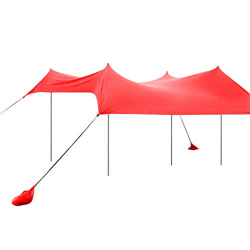 UHINOOS 9.8x9.8ft Bench Tent with 4 Sand Anchor Aluminum Poles,Family Sun shelter & Carring Bag UPF 50+ (Red)