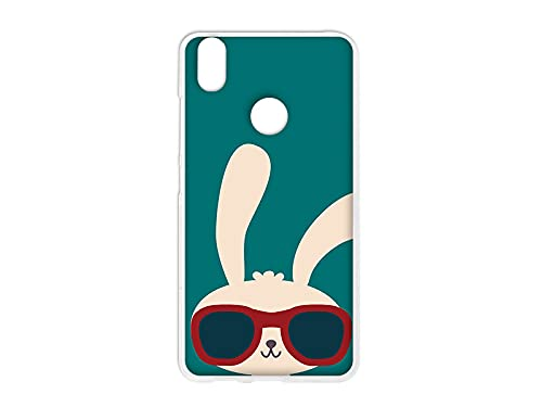 etuo Hülle für BQ Aquaris X Pro - Hülle Design Hülle - Hase mit Brille - Handyhülle Schutzhülle Etui Hülle Hülle Cover Tasche für Handy