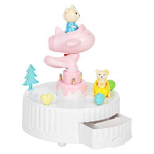 Bonita caja de música giratoria de madera para decoración de tartas, adorno para regalo de cumpleaños infantil (rosa)