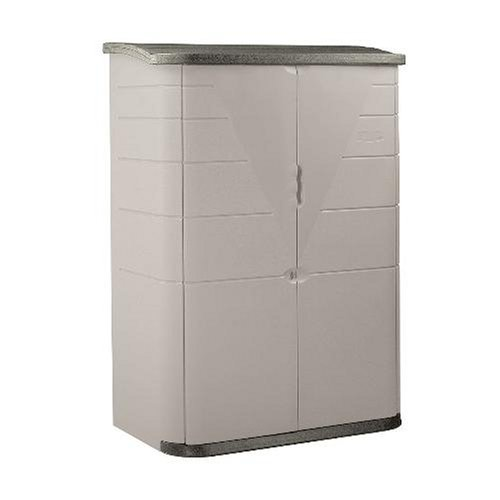 Rubbermaid Plastic Vertical Outdoor Storage Shed, 52-Cubic Foot, Beige (FG374601OLVSS)