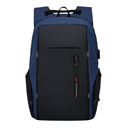 WJJH Mochila Hombres Negocio Casual Ordenador Mochila al Aire Libre Hombres Mochila USB Negocio antirrobo Mochila,Azul