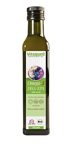 Aceite Vitaquell Omega 3 DHA, 250 ml de vegano con aceite de algas - rico en vitamina E y ácido docosahexaenoico (DHA).