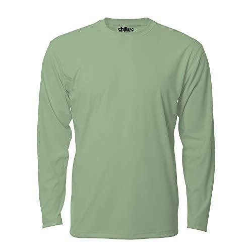 chillBRO. by Denali Mens UPF 50+ Long Sleeve Crew Neck T-Shirt - M, Green Tea