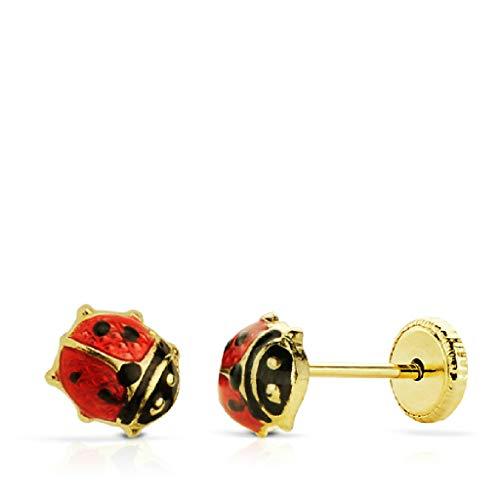 Orecchini a forma di coccinella da bambina, in oro 18 kt, smaltati di prima qualità, dimensioni 6 mm